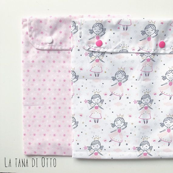 Fairy tale clothes bag set of two, pink baby clothes case, baby girl school bag, zipper pouch, newborn gift, baby shower gift, mom to be