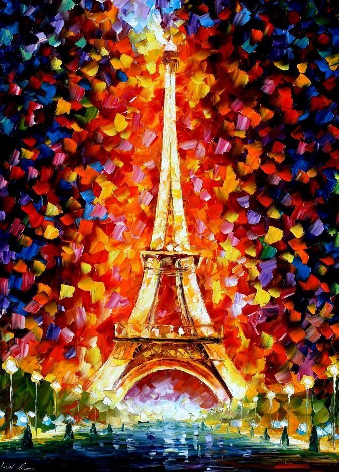 Paris Eifel Tower Lighted By Leonid Afremov Art Gallery