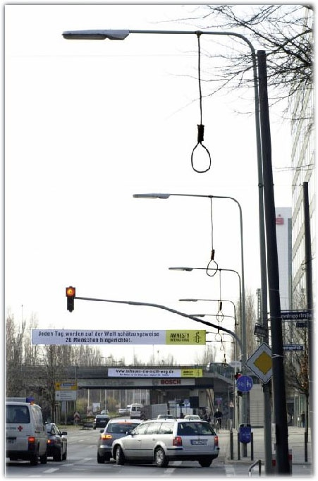 Streetpole campaign against hanging. For Amnesty (Germany)