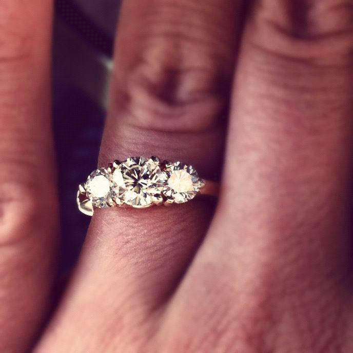 beauty. three stone diamond engagement ring