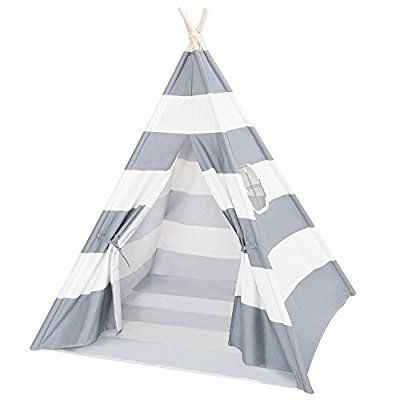 DalosDream Indoor Outdoor Grey Striped Canvas Indian Kids Teepee Playhouse with Window and Bottom, Play Tents - Amazon Canada