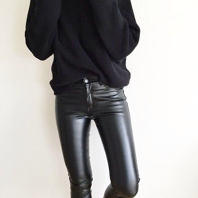Black jumper, skinny leather jeans. I own these but i dunno if i can pull them off!!