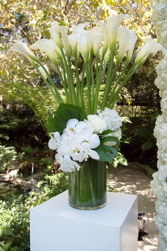 Large bouquet with white flowers; calla lilies, orchids and hydrangea - The Hotel Bel Air - Floral Art
