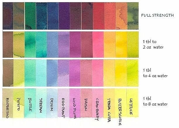 Awesome Color Chart For Ranger Color Wash  Craft Paper Crafts