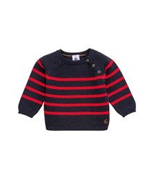 Baby boy wool and cotton knit jumper with placed stripe Abysse blue / Bacchus red - Petit Bateau