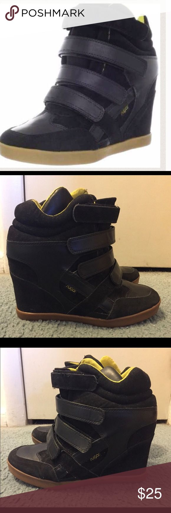 BLACK HIGH TOP WEDGE SNEAKERS FASHION TENNIS SHOES Only worn a few times...great condition!!  Size 10 sugar Shoes Sneakers