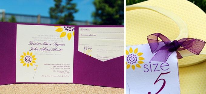 Purple & Sunflower Wedding invitations