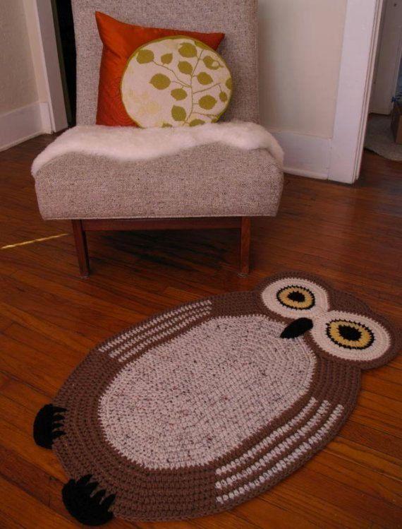 Crochet+Oval+Owl+Rug+by+peanutbutterdynamite+on+Etsy,+$65.00