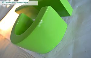 The 3D logo during fabrication