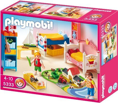 Playmobil 5333 Children's Room by Playmobil. $23.59. Ages 4 and up. 9.8 x 7.9 x 3 inches. The Boy and Girl Room contains two beds that can be stacked on top of one another to create bunk beds. The set also comes with a bookshelf, mini farm on a play mat, and guinea pigs in their pen. The set is fun to play with alone or use it to furnish the Playmobil Large Grand Mansion (5302).. Save 33%!
