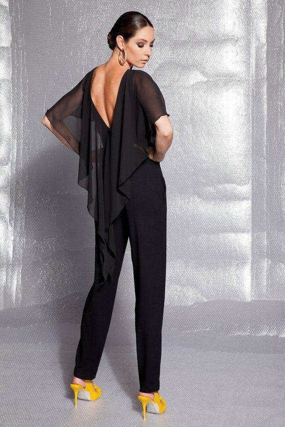 c4bbc3795 Black Maxi Jumpsuit/ Elegant Jumpsuit/ Sexy jumpsuit/ Backless jumpsuit / Plus  size jumpsuit/ Oversized Jumpsuit/ Extravagant Jumpsuit/