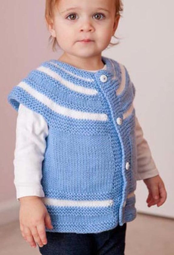 Free Knitting Pattern for Stripey Yoke Cardigan for Babies and Children