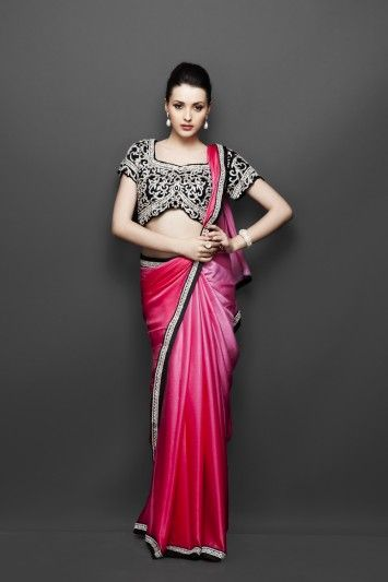 Pink Shaded indian Sari with Heavy Blouse