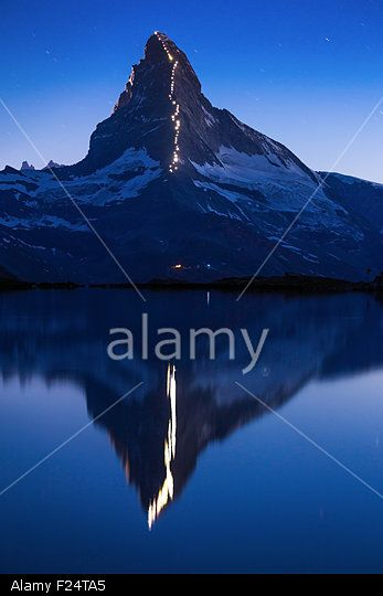 The celebration of 150 years from first ascent of the Matterhorn (Cervino).  Lake Stellisee Stock Photo