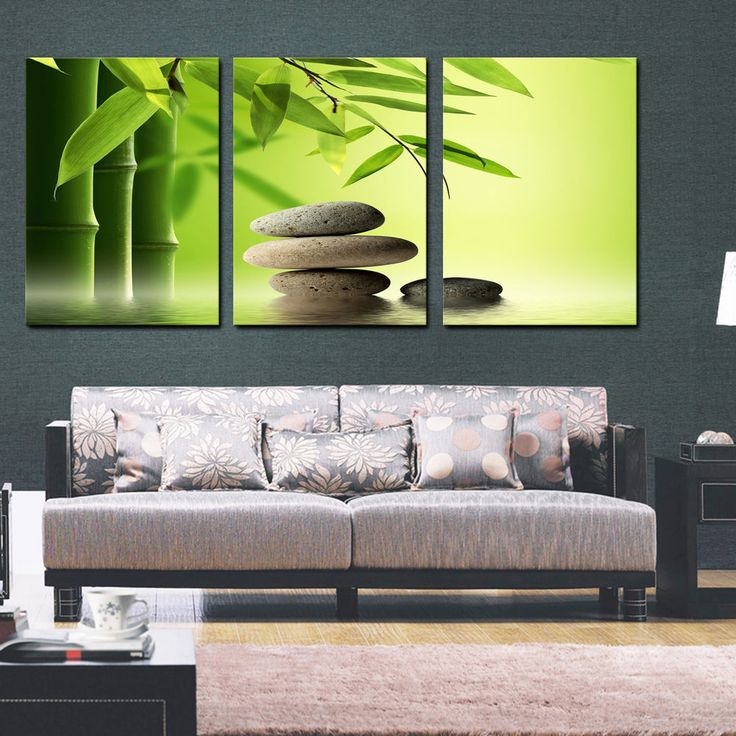 ZEN STONE and BAMBOO easy to hang fiberboard canvas wall art/surpassed stretched #DigiArtDecor