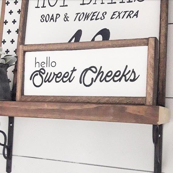 Hello Sweet Cheeks Bathroom Farmhouse Decor Funny Sayings Humor Home Decor Framed Wood Signs Wall Hanging Housewarming Gifts Wood Frame Sign Diy Bathroom Decor Diy Wood Signs