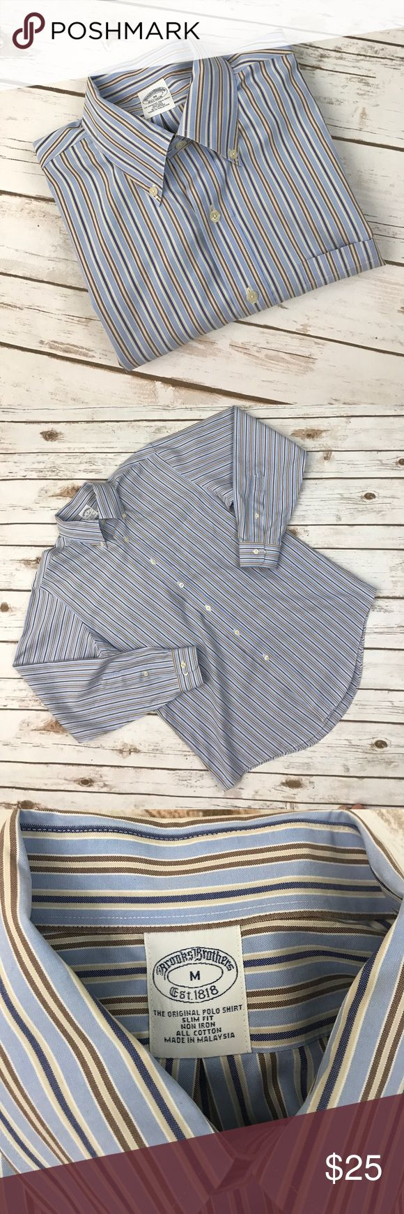 """Brooks Brothers Men's shirt M No rips. Good condition. Armpit to Armpit 22"""" Front Length 30"""" Back length 31"""" Sleeve length 25"""" Brooks Brothers Shirts Dress Shirts"""