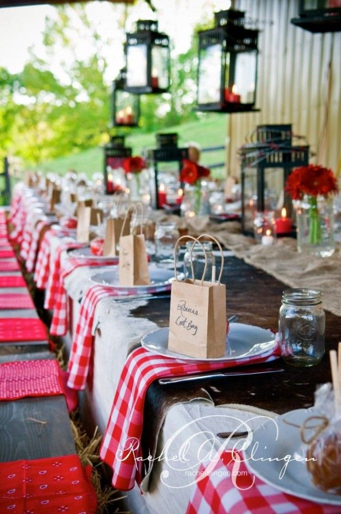 2014 Wedding trend...bold patterns and prints!  Big gingham napkins, farm table, lanterns, brown paper bags as seating cards/guest favors.
