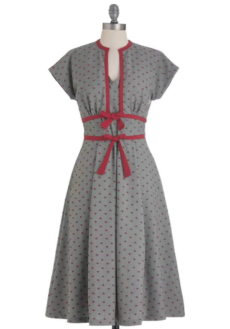 Social Savant Dress by Bettie Page - Grey, Red, Bows, Pleats, Pockets, Party, Fit & Flare, Novelty Print, Vintage Inspired, 50s, Spaghetti Straps, Long