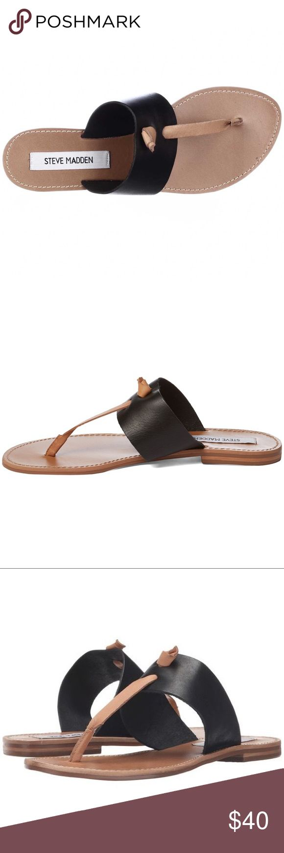 """Steve Madden Sandals NWT Steve Madden Olivia Black Leather Thong Sandals that we can't resist! A toe thong upper meets a knotted accent, and leather strap in cognac brown. 0.25"""" stacked rubber heel, smooth leather insole, nonskid rubber sole, genuine leather upper, balance man made. Imported. Brand new, never worn, comes with original box and wrappings. Steve Madden Shoes"""