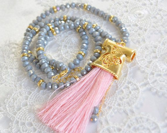 Caftan necklace turkish jewelry Grey glass beads by KURSIJEWELRY Caftan necklace, turkish jewelry, Grey glass beads, pink tassel boho islami accessories, sufi whirlling dervish, mevlana, rumi sufi sufizm, oriental, arabic, authentic