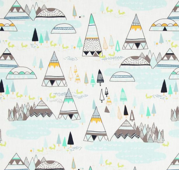 A pretty pastel woodland pattern on this pillow makes a great addition to a…