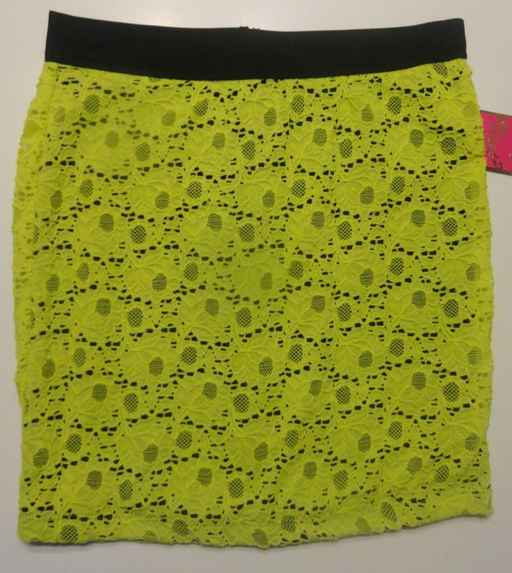 Ladies Candie's Yellow Lace Black Floral Skirt Sizes XS, Small, M, Large, XL #Candies #Mini