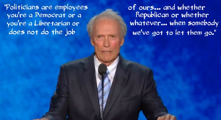 "Did not watch either convention but heard all the buzz about the Clint Eastwood speech so had to watch it on YouTube... wow! I know the critics thought it odd but I agree with those calling it brilliant. No matter how you feel politically, he definitely achieved what he aimed for, and people are still talking about it.  A new term even came out of it... ""Eastwooding"". I saw posts about the quote about college students, but my favorite was this one about the fact that politicians work for…"