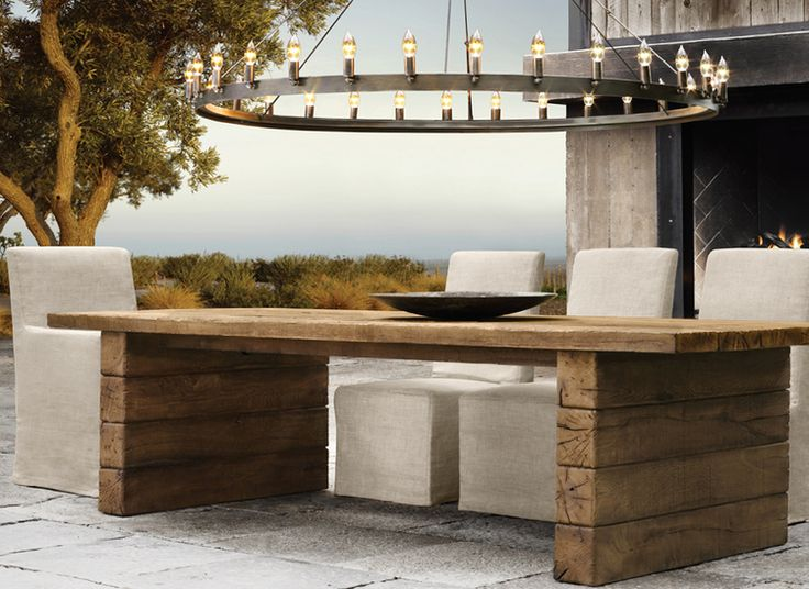 13 best images about furniture on pinterest wood storage for Restoration hardware outdoor dining