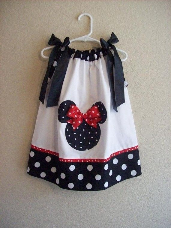 Custom Boutique Pillowcase Dress - MINNIE MOUSE - Black Polka Dot w/ Red Accent…