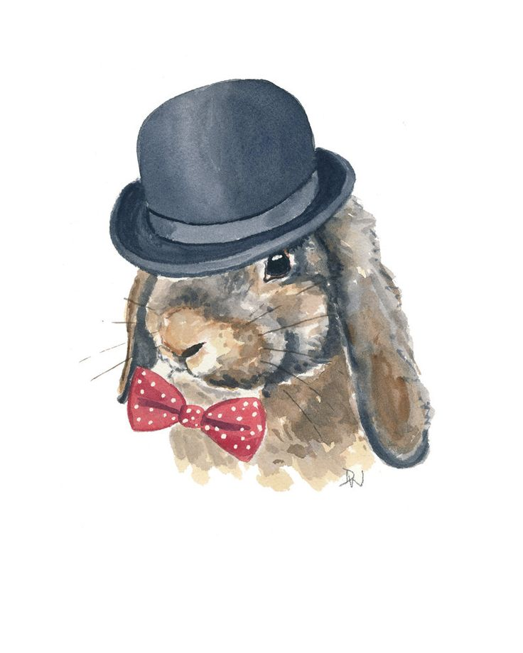 Original Rabbit Watercolour Painting, Bunny Watercolour, Bowler Hat, Bow Tie, 8x10 Painting. $49.00, via Etsy.
