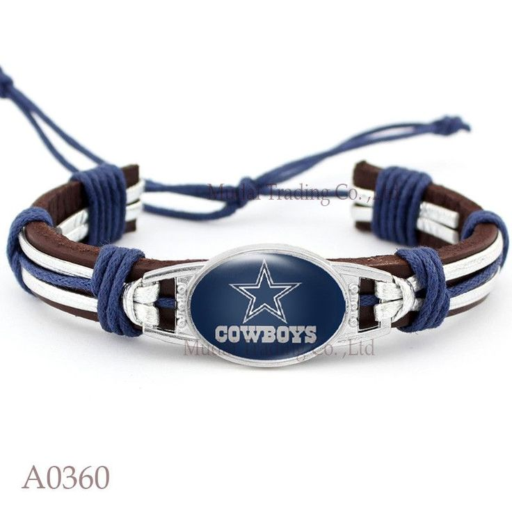 (Men's Fashion) Adjustable Dallas Leather Cuff Cowboys Bracelet for Men & Women Bangle Casual Football Team Wristband Jewelry