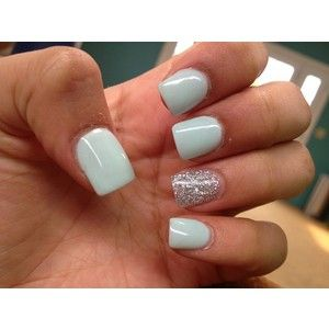 Super cute mint silver acrylic nails