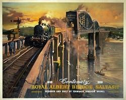 ROYAL ALBERT BRIDGE, SALTASH'  Artist:Cuneo, Terence  Circa:1959  Origin:United Kingdom  What better way to finish our 'Sky, Sea & Rail' week than with a poster by our favourite locomotion enthusiast and posturist Terence Cuneo, who painted this astounding poster of the Royal Albert Bridge. The bridge was designed and built in 1859 by Isambard Kingdom Brunel. Here Cuneo's technique and realism creates the kind of atmosphere you see in 3D movies today…All aboard the Hogwarts Express!