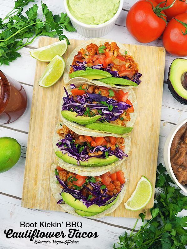 Boot Kickin' BBQ Cauliflower Tacos from Great Vegan BBQ Without a Grill by Linda and Alex Meyer