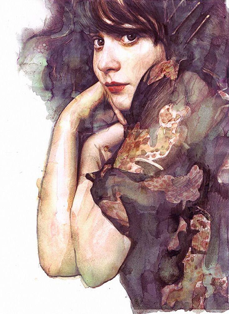 Artist: Berto Martinez, watercolor {contemporary figurative art beautiful female head arms woman face portrait painting #loveart} bertomartinez.com