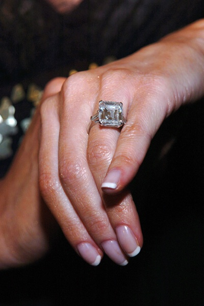Donald Trump and Melania Knauss -   The former model was presented with a 15 carat diamond ring said to be worth 3 million dollars.