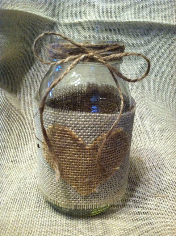 Shabby Chic Burlap Mason Jar centerpiece by AllaboutBurlap on Etsy, $6.00