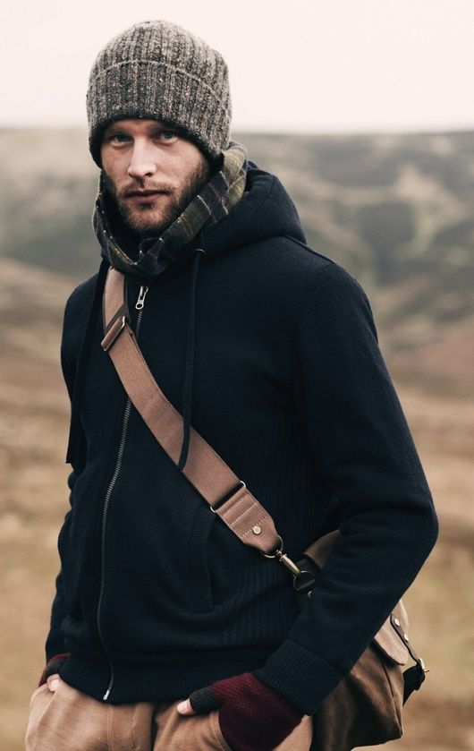 Shop this look for $256:  http://lookastic.com/men/looks/beanie-and-scarf-and-hoodie-and-messenger-bag-and-gloves-and-chinos/1182  — Grey Beanie  — Navy and Green Plaid Scarf  — Navy Hoodie  — Brown Messenger Bag  — Burgundy Wool Gloves  — Khaki Chinos
