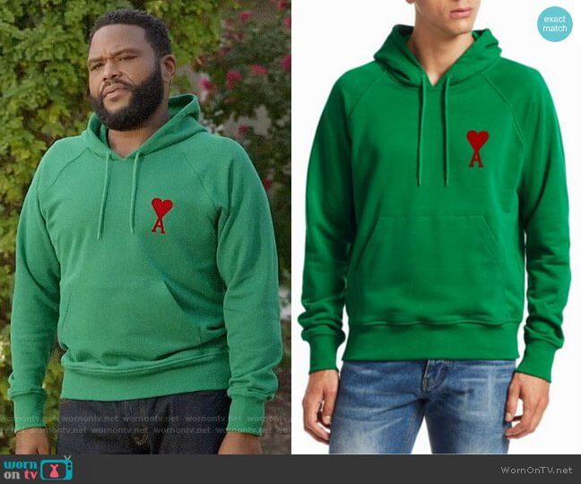 58a0b8d721 Andre s green heart hoodie on Black-ish. Outfit Details  https
