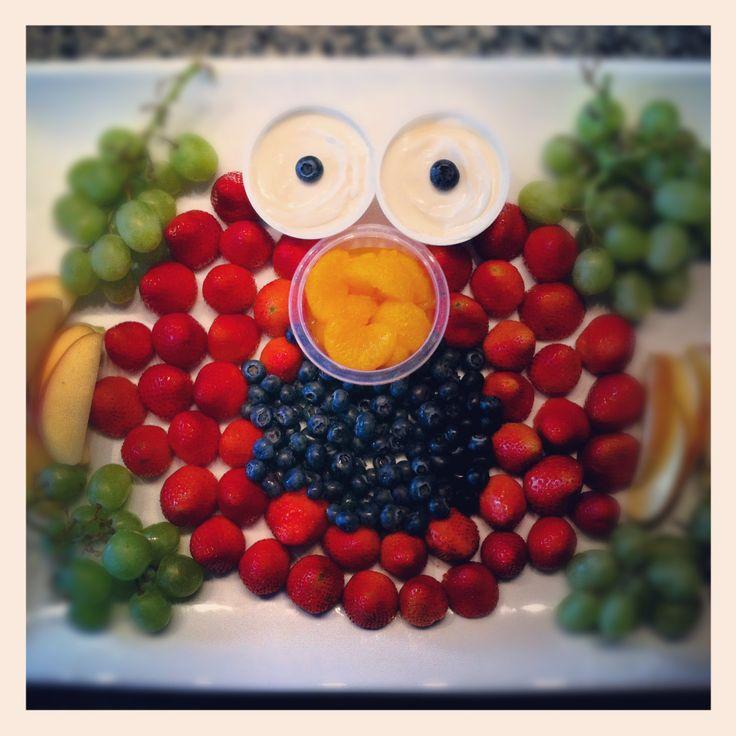 Elmo birthday party - Elmo fruit tray