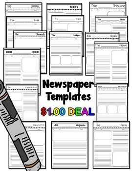 Newspaper Templates- These blank newspaper templates are perfect for any subject or any topic.  They are especially great for recapping events in history.There are 16 different paper names, such as these examples:The ______ NewsThe _____ SunThe ____ TribuneStudents get to create their own name by writing it in the blank.There are 4 different newspaper layouts among the 16 paper styles.At the top of each newspaper template, there is a place for students to write in their own price, the issue…