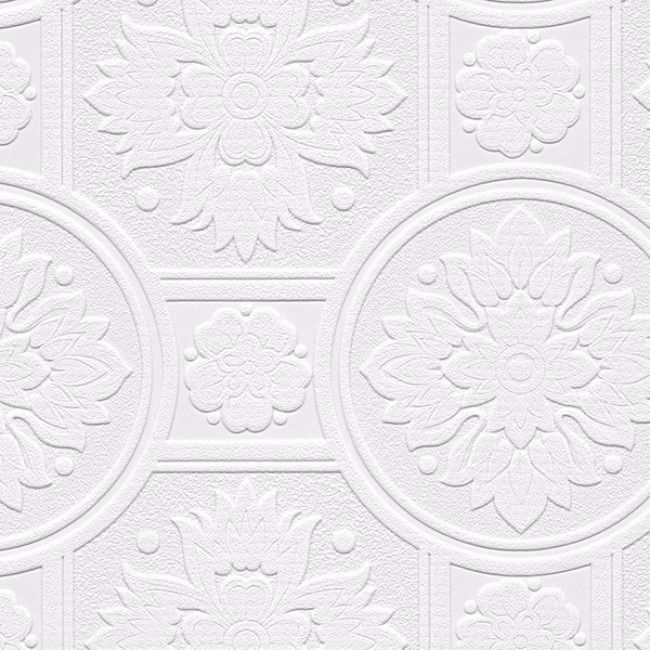 Manhattan Comfort Lucy White Paper/Vinyl Textured Paintable Floral Circle Damask Wallpaper (White)