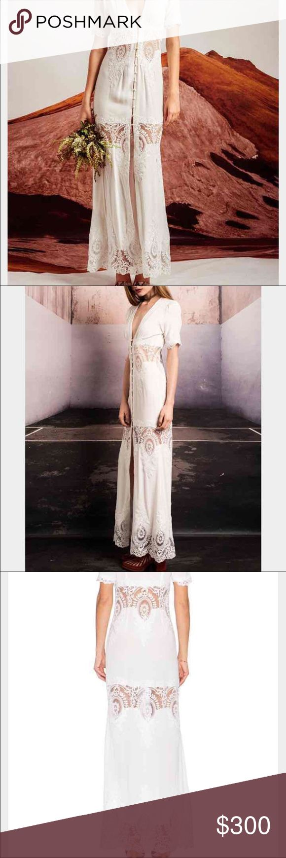 Stone cold fox Octavia white lace gown NWT This gown is absolutely gorgeous! I lost weight and was unable to wear it to one of my bridal showers. It fits a size 6-10 women. Great for engagement shoot or anything wedding! Stone Cold Fox Dresses Maxi