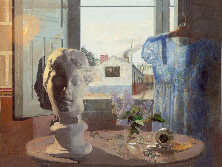 Antonio López – Cabeza griega y vestido azul, 1958 (intervenido en 2011). Óleo sobre táblex. 74,2 x 97,5 cm. Colección privada.
