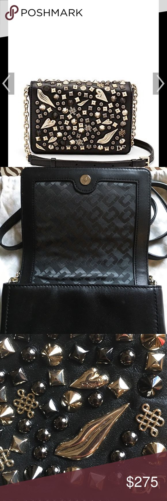 DVF crazy Stud Cross body bag Used one time, still in pristine condition. With dustbag and tags. This bag is so cute, the leather on it is gorgeous and if you want to add a little fun to your wardrobe this is just what you need. DVF Bags Crossbody Bags