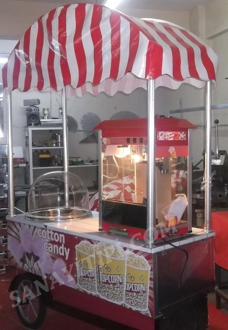pamuk şeker patlamış mısır (popcorn) seyyar arabası » - Sanayi tipi
