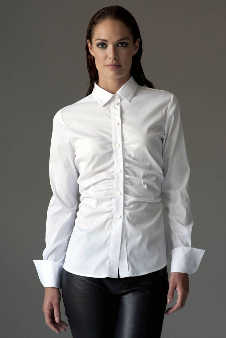 The Shirt Company | Ruched Fitted White Cotton Woman's Shirt | The Shirt Company