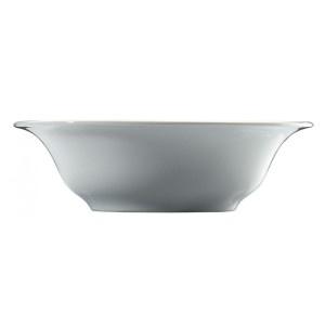 Salatiera din portelan alb, lucios. Produsul se gaseste in diferite marimi, cu diametrul de 16 cm, 18 cm si 23 cm.