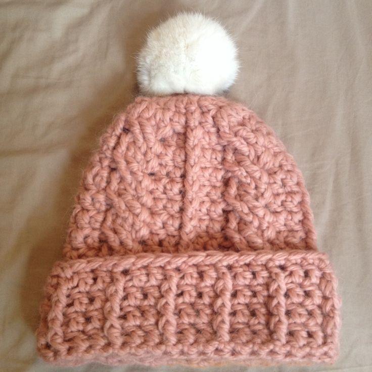 Pink cable crochet bobble hat
